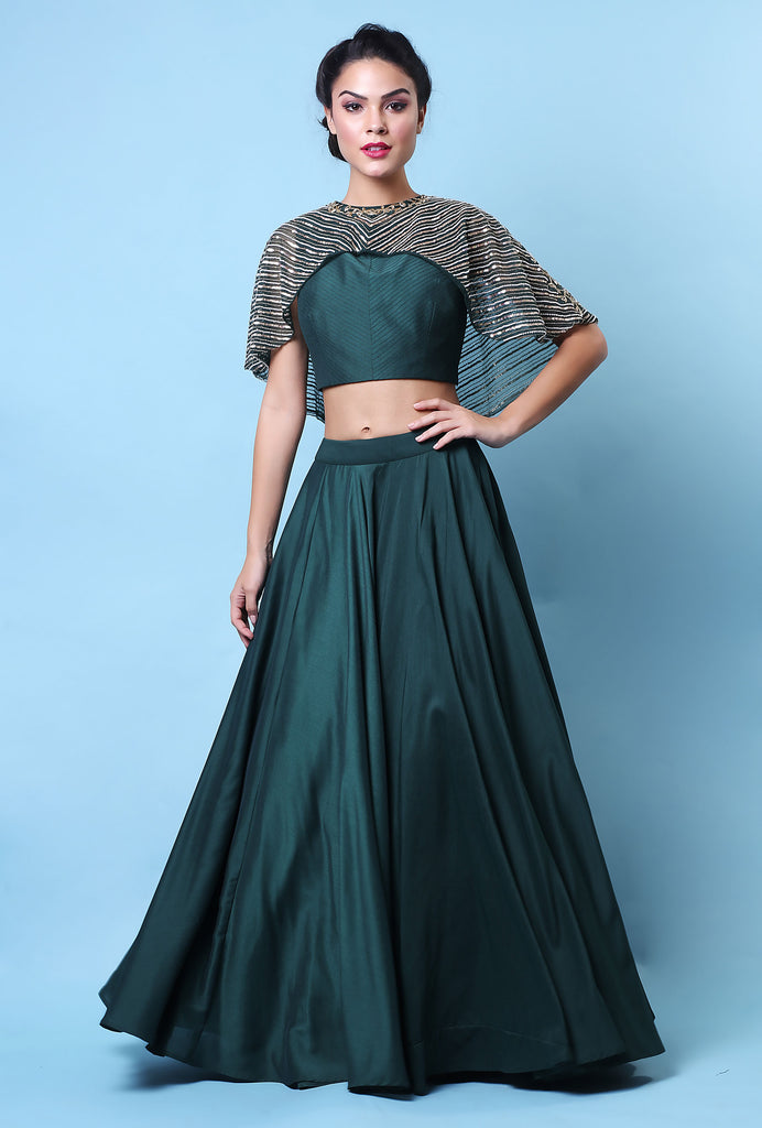 Chitra green cape lehenga set
