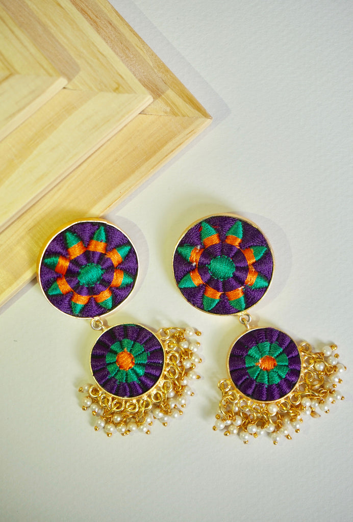 Kiran purple double circle earrings