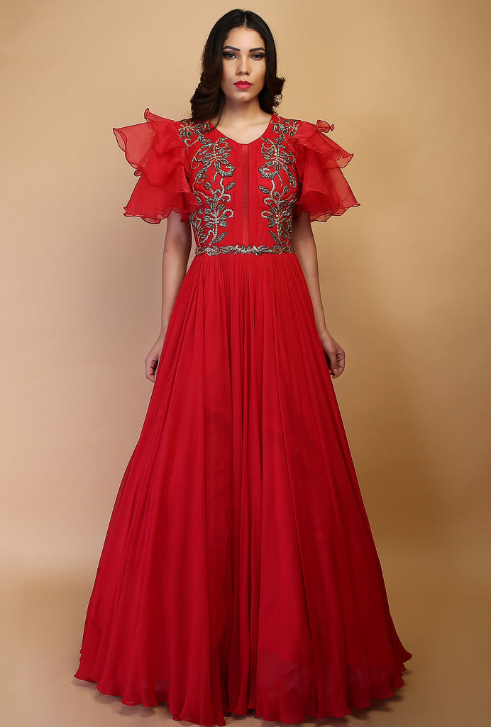 Vandita red flared sleeve gown