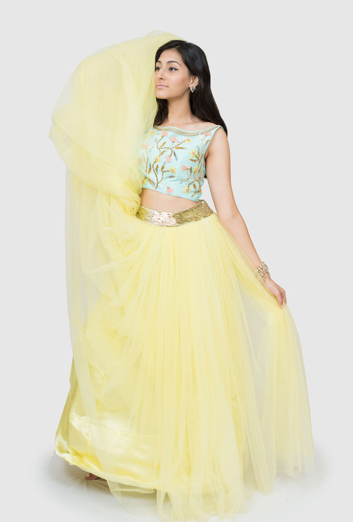Karishma yellow lehenga set
