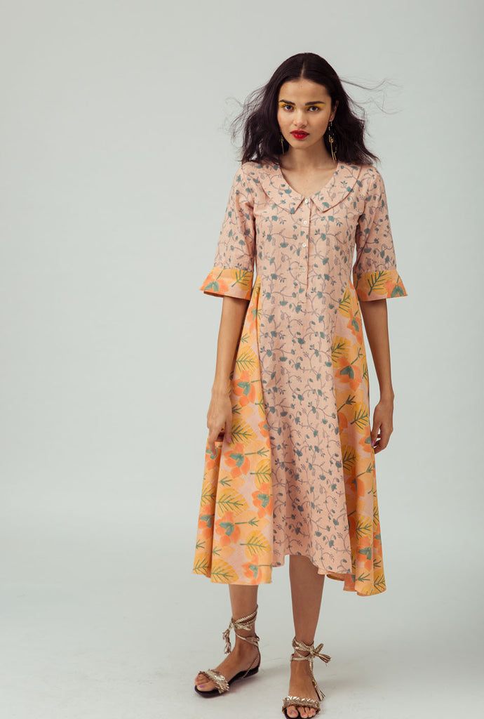 Darsha orange patterned kurta dress
