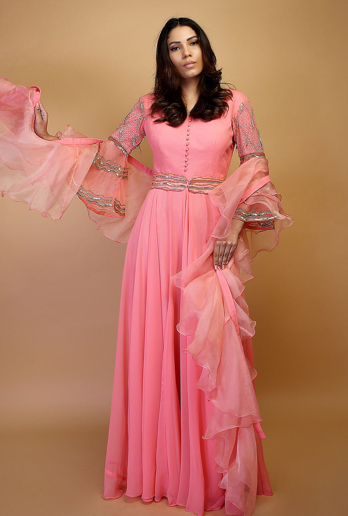 Saanvi cape sleeve anarkali