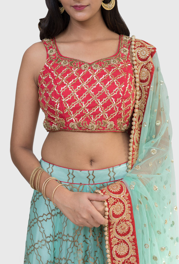 Kanika mint and red lehenga