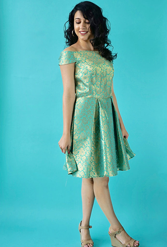 Kruthika green mini dress