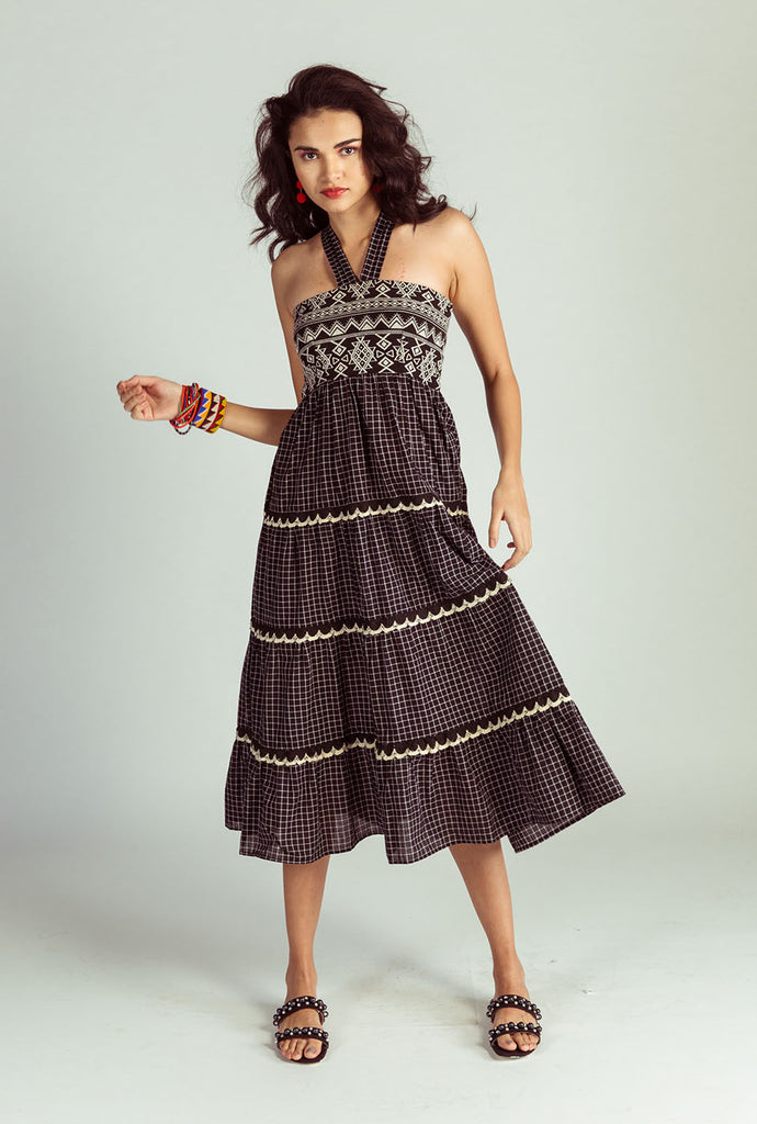 Pramiti tiered midi dress