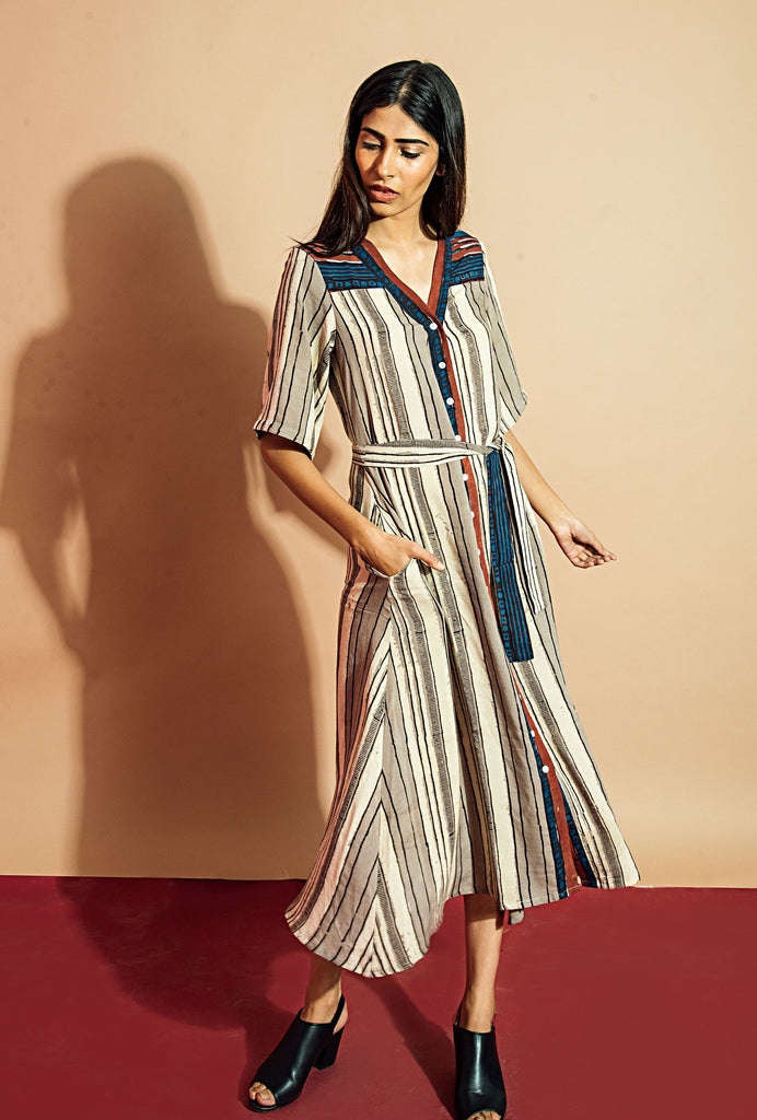 Ruhi striped shirt dress