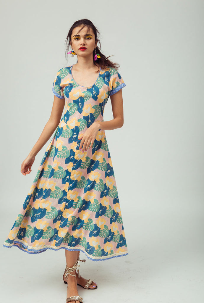 Amaya blue patterned day dress