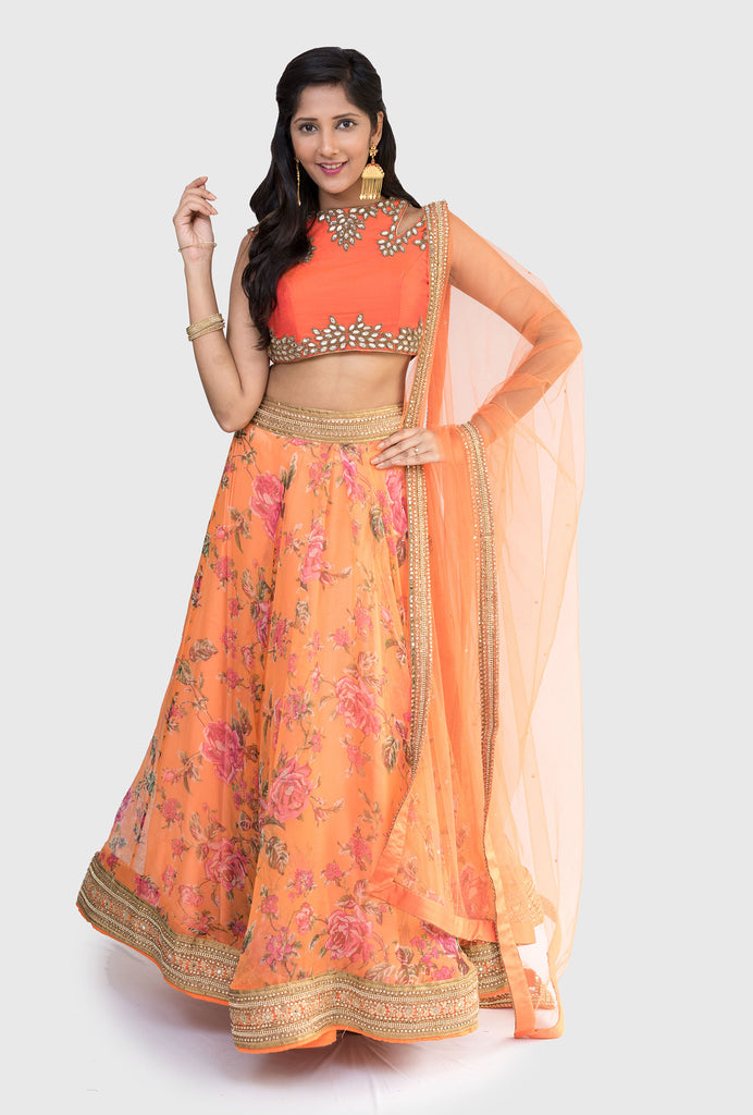 Revati orange floral lehenga set
