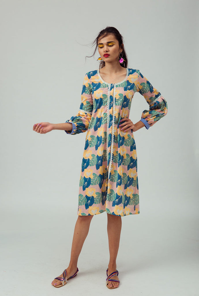 Deepti blue patterned midi dress