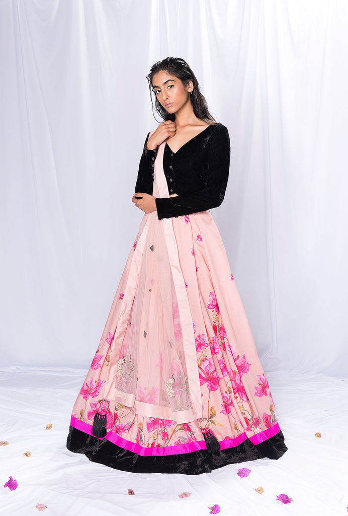 Sanaya pink and black lehenga