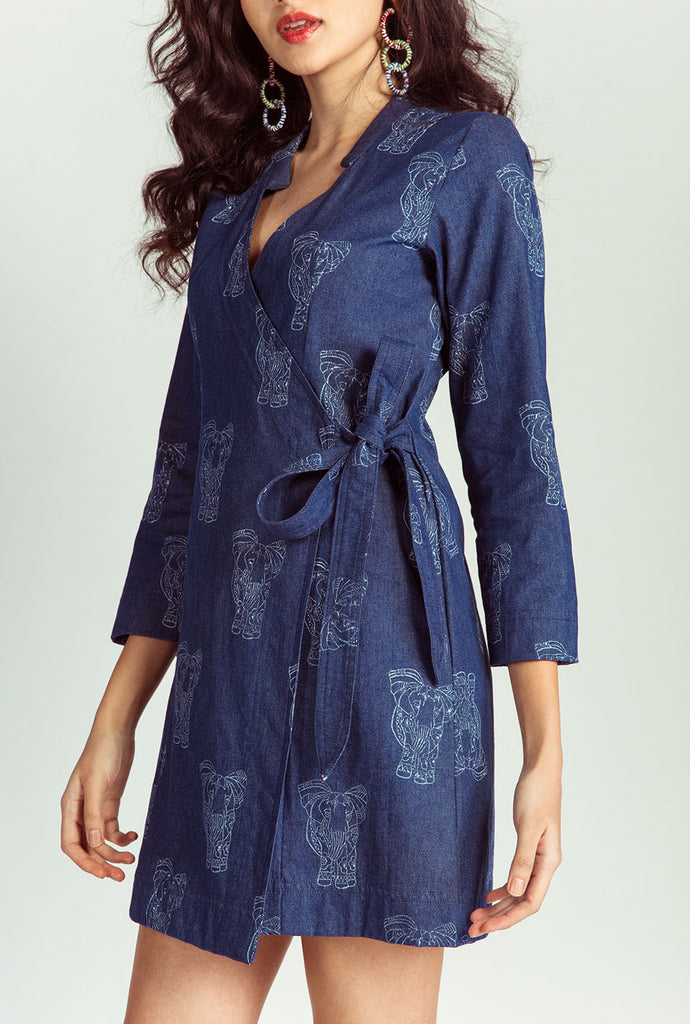 Pavani denim wrap dress