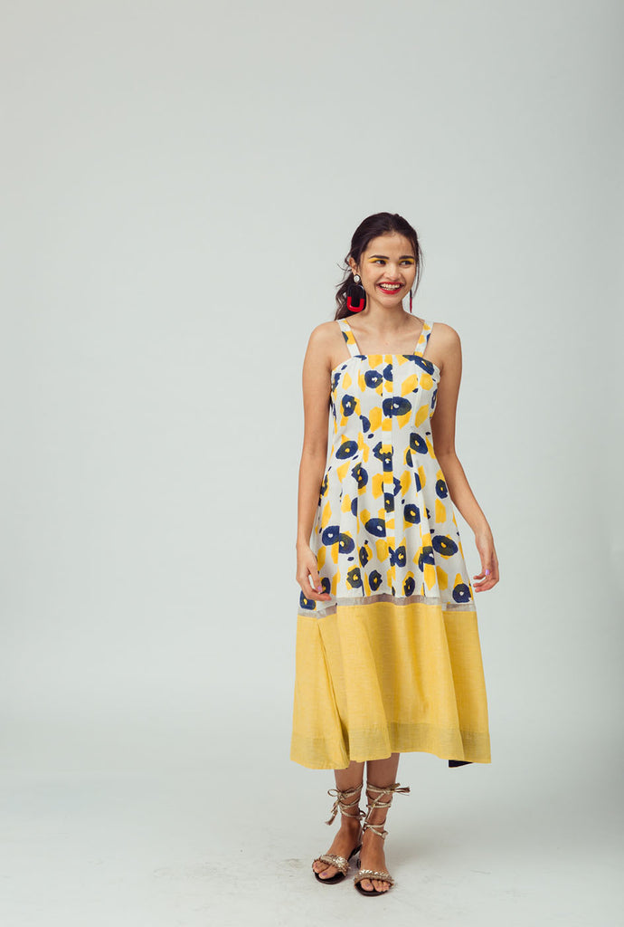 Devmani yellow retro dress
