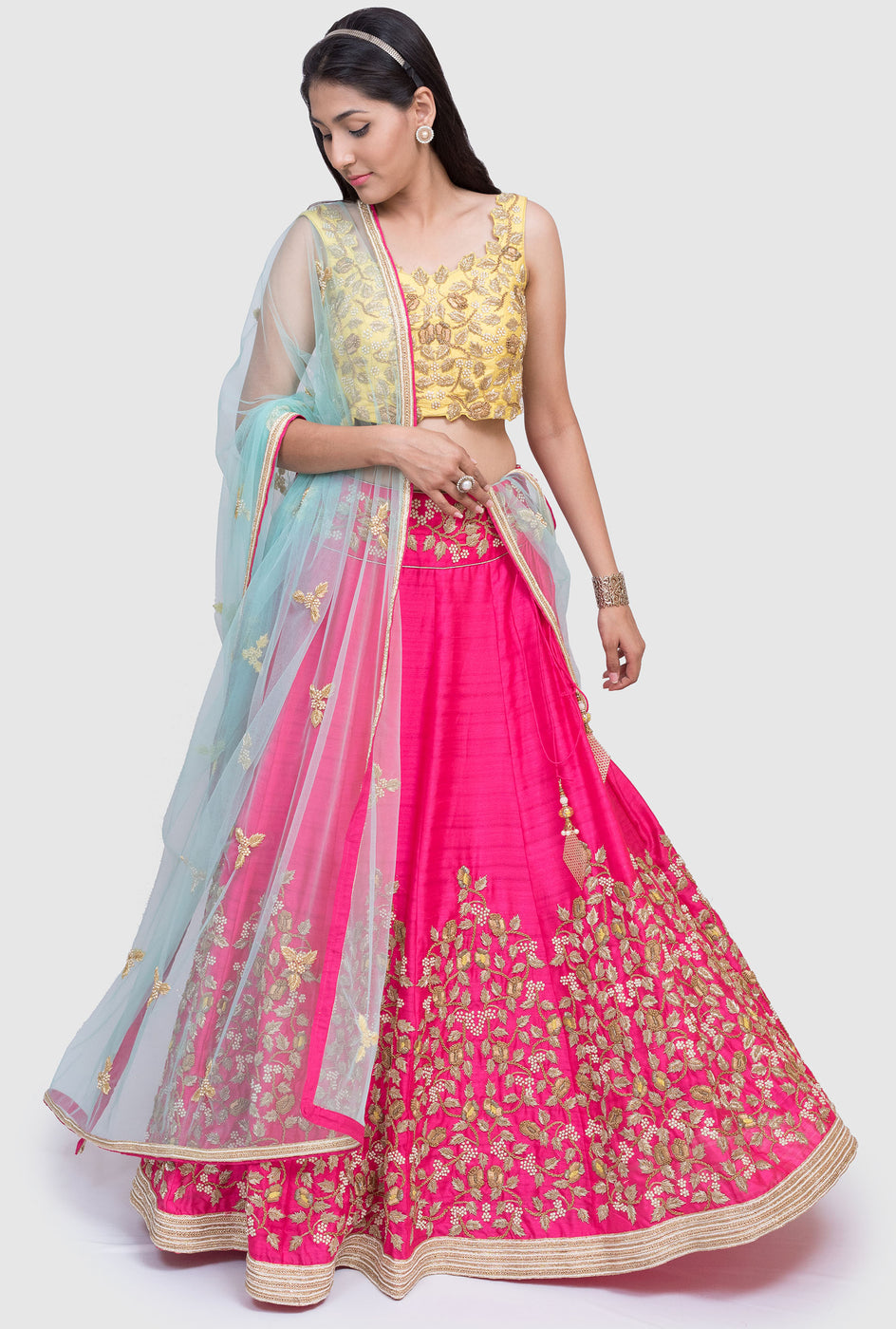 Yashica yellow and pink lehenga set