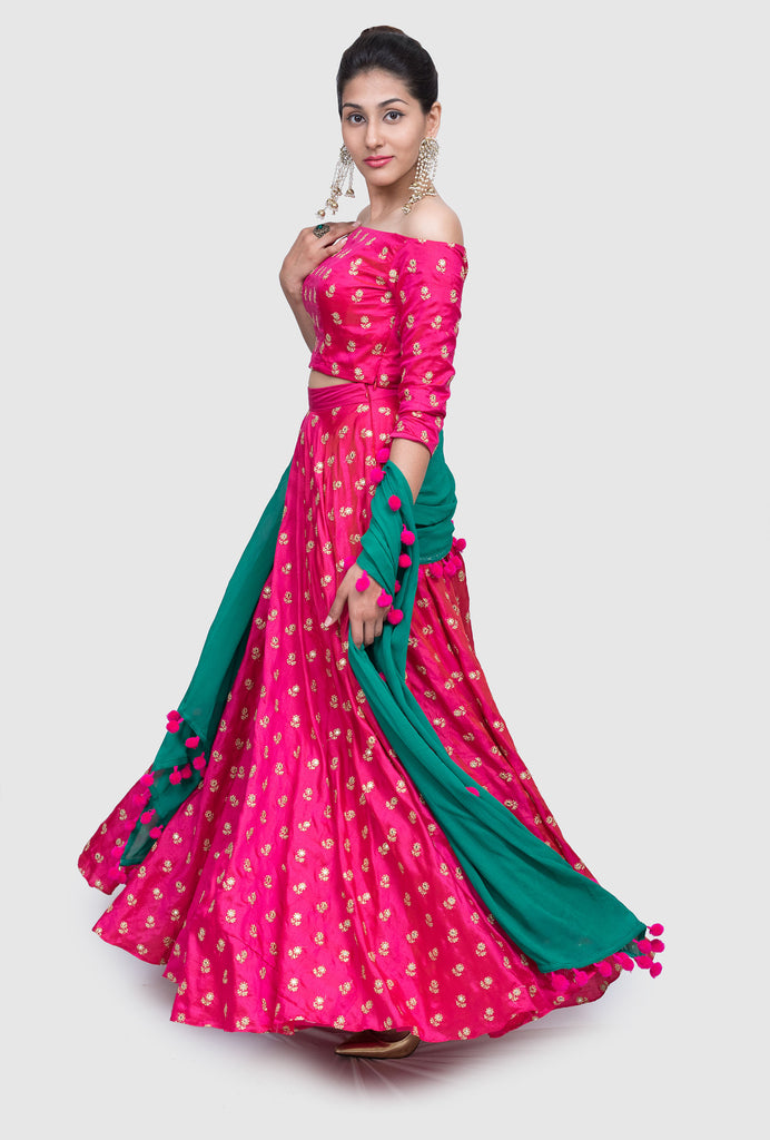 Neeru pink off-shoulder lehenga