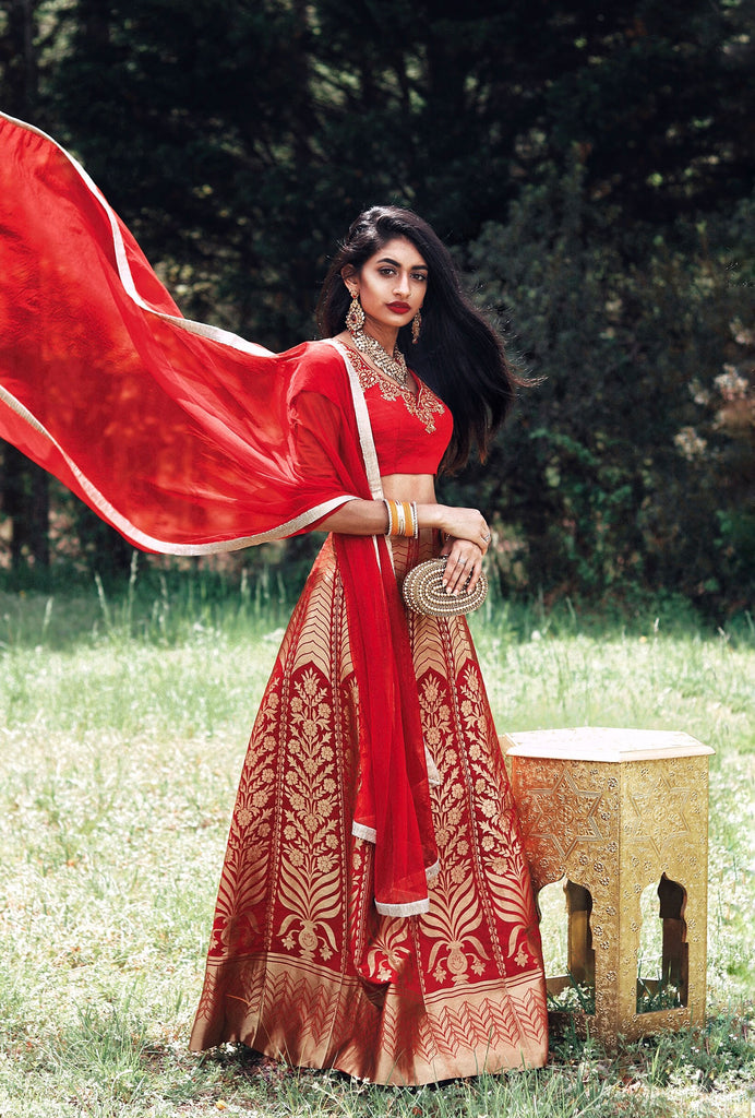 Hamel red brocade lehenga set
