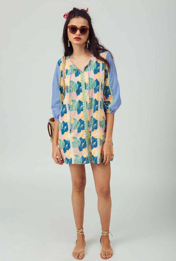 Anjali blue patterned shift dress