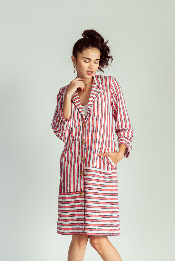 Yamini striped jacket dress