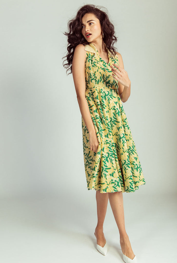 Madhu green wrap dress