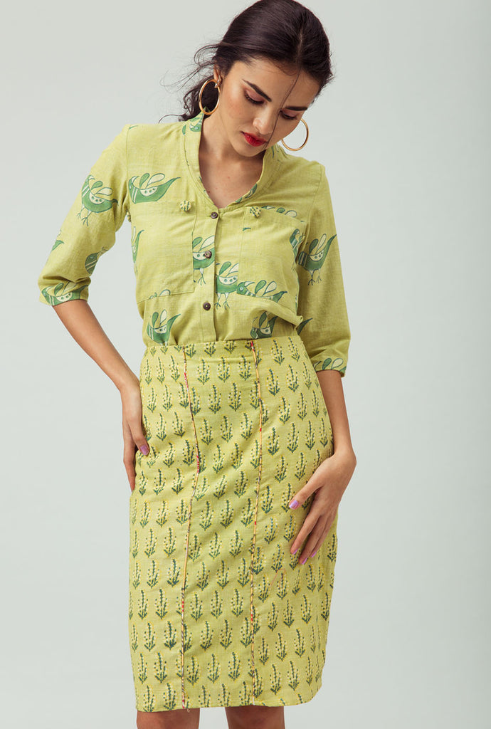 Agila yellow patterned top