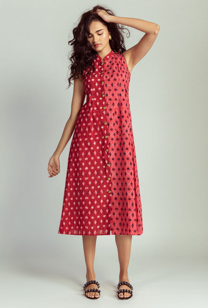 Devika red lattice dress