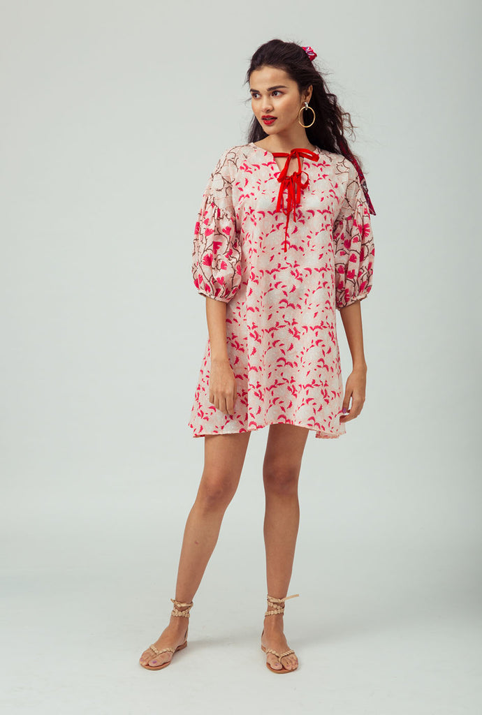 Upasna red patterned shift dress