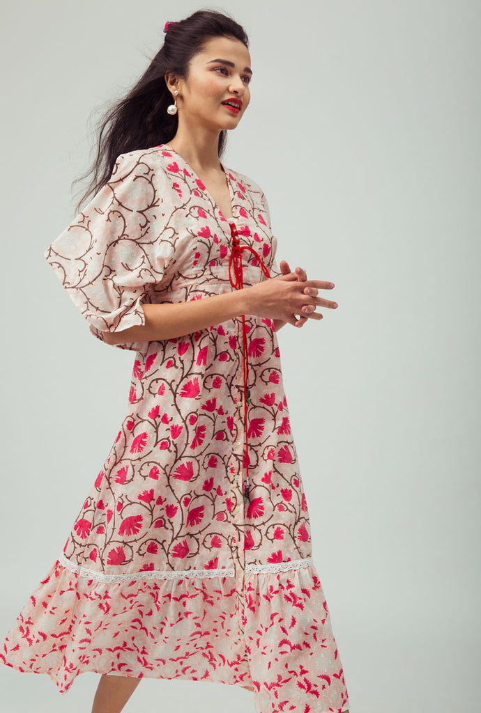 Bhavika red patterned kimono dress