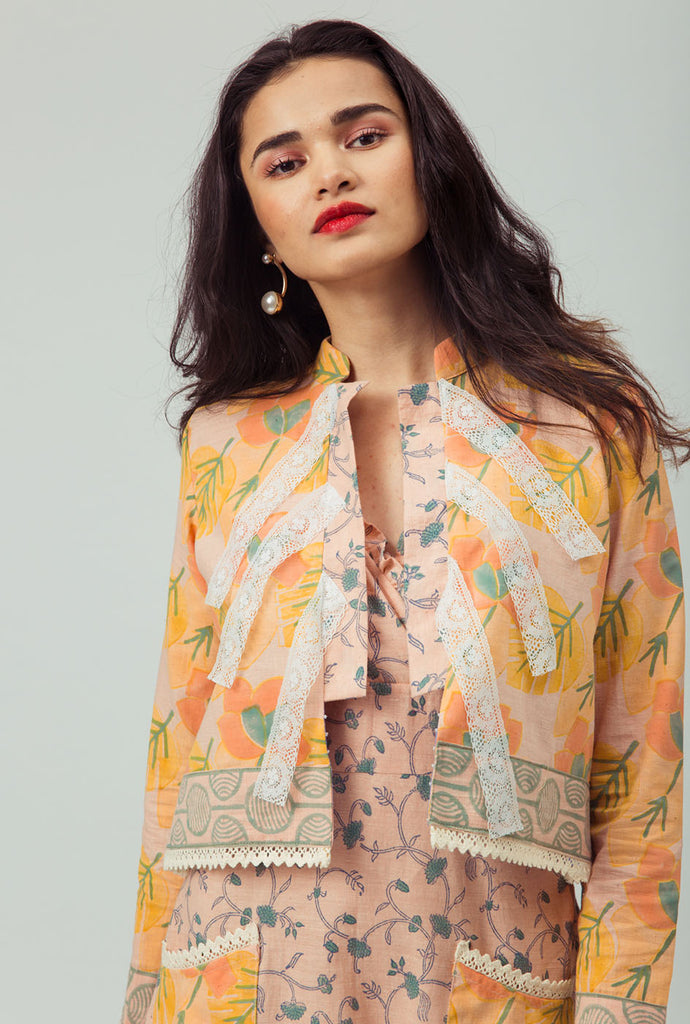 Aadhira patterned cropped jacket