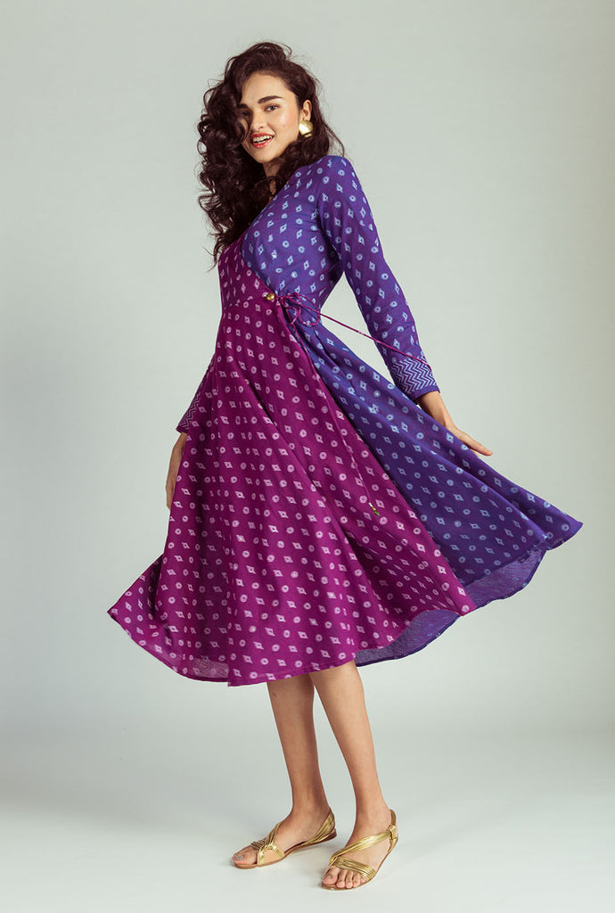 Mohisha purple wrap dress