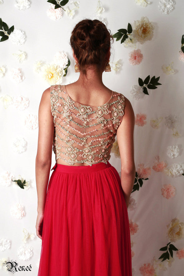 Rae Embroidered Red and Gold Lehenga