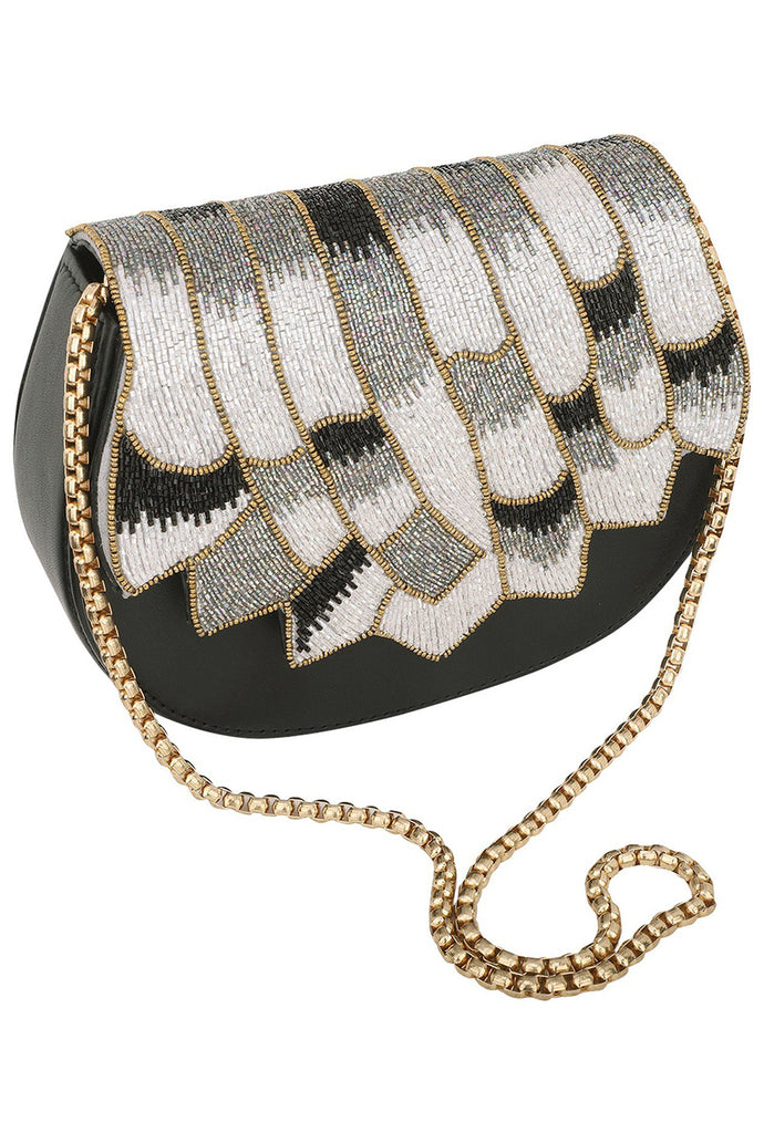 Avika black beaded handbag