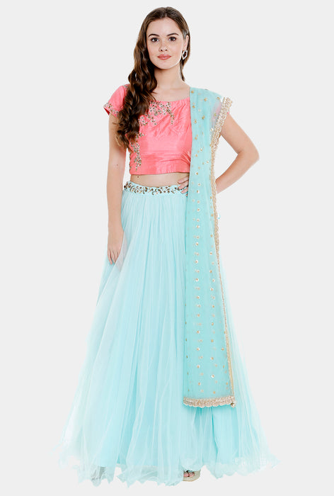 Rupashri blue and pink lehenga set