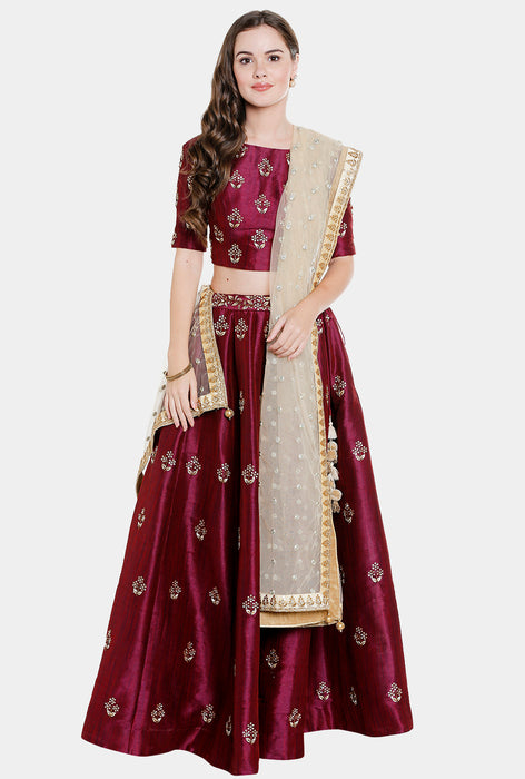 Sanchita raw silk lehenga set