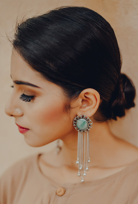 Sadhvi turquoise floral tassel earrings