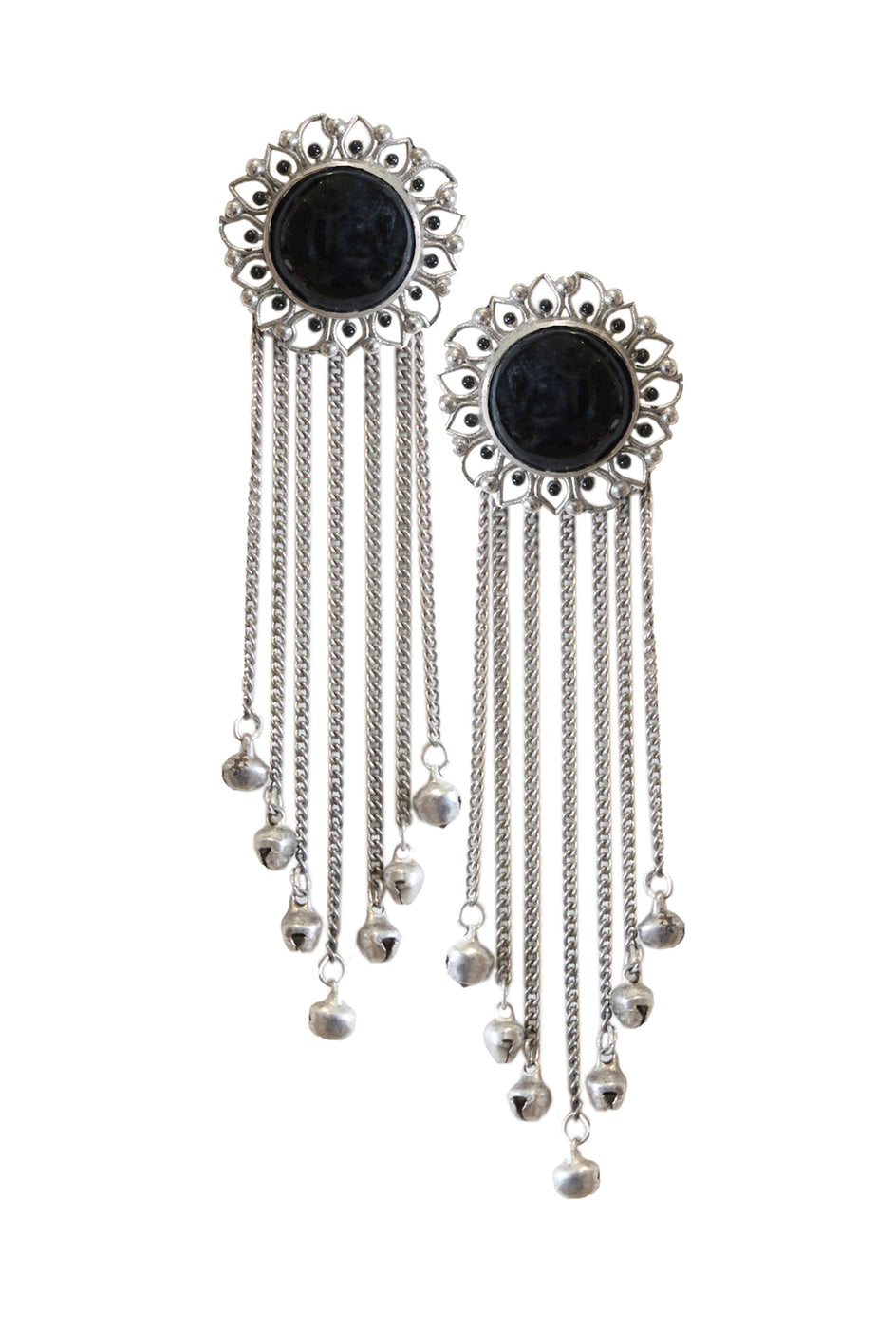 Sadhvi black floral tassel earrings