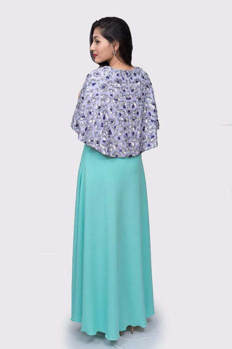 Shanti blue maxi dress with cape
