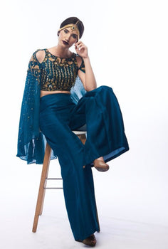 Lakshmishree teal cape blouse and palazzo pant set