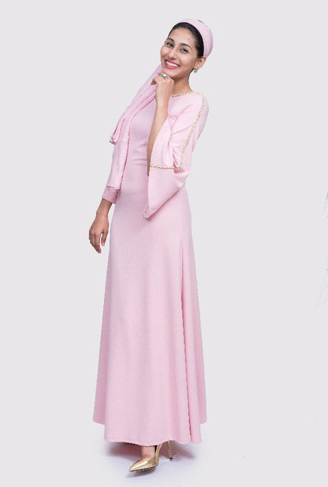 Shobhna pink pearl bell sleeve gown