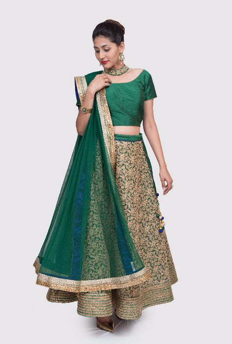 Kadambini emerald and gold choker lehenga