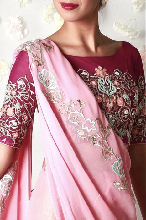 Sumita pink vine embroidered sari set