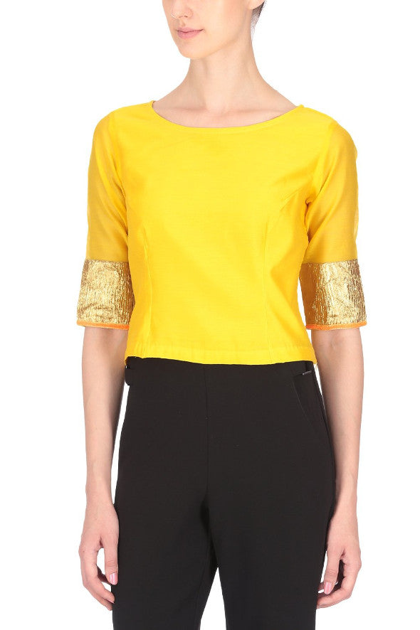 Sarita Gold Trim Half Sleeve Top