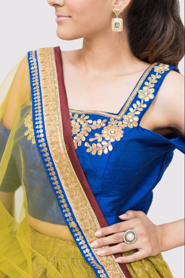 Tamika Cold-Shoulder Embroidered Lehenga in Green and Royal Blue