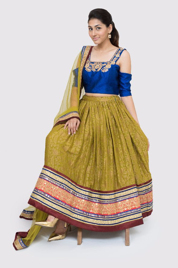 Tamika Cold-Shoulder Embroidered Lehenga