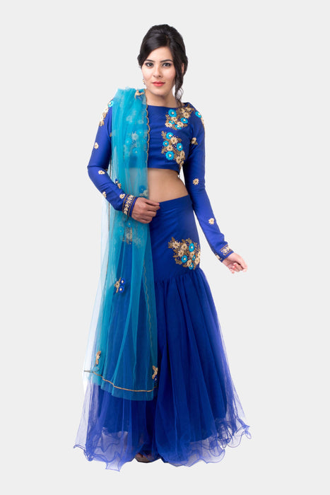 Gunavati royal blue floral lehenga set