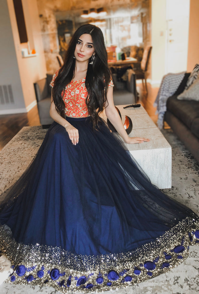 Nadia orange and navy lehenga set