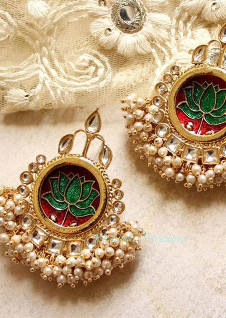 Jhalak pearl and gold earrings