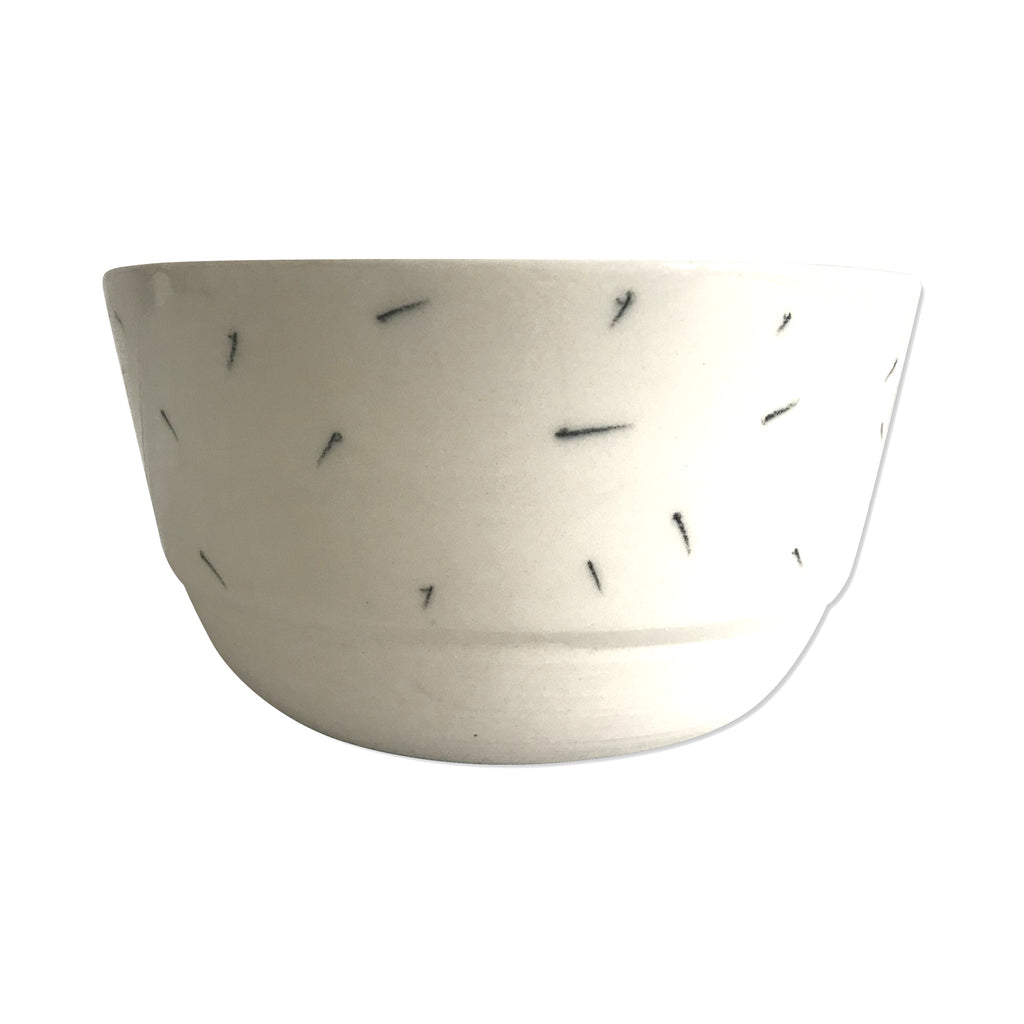 Ceramic White Bowl with Pencil Pattern