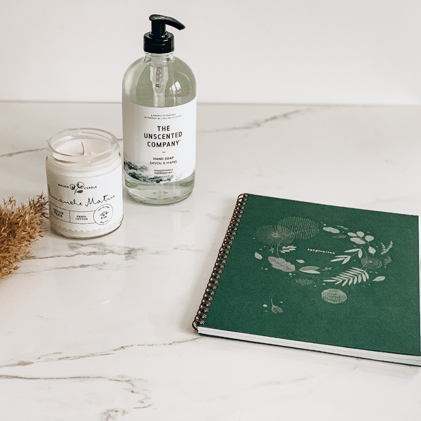 Candle, Notebook & Hand Soap Set