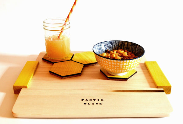 Wooden Turmeric Dyed Serving Tray
