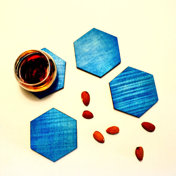 Wooden Majorelle Dyed Coasters