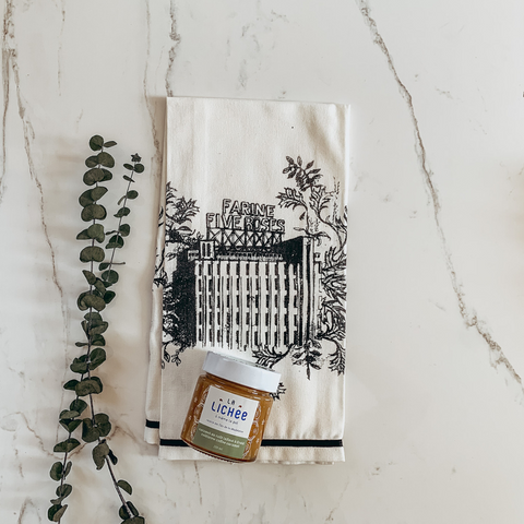 organic cotton tea towel-cold brew caramel